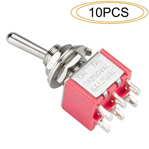 DIYhz Toggle Switch AC 5A/125V 3A/250V 6 Pin Terminals On/On 2 Position DPDT Toggle Switch Mini Miniature Toggle Switch Car Dash Dashboard,10Pcs (Dpdt Miniature)