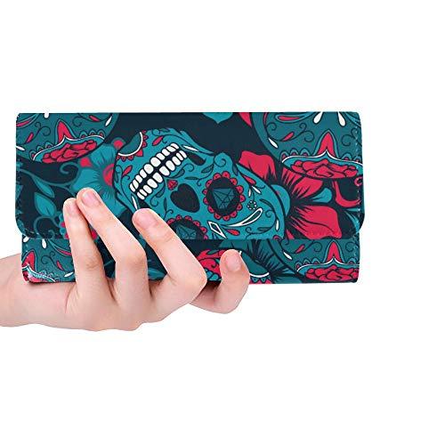 ed Sugar Skull And Flower Women Trifold Wallet Long Purse Credit Card Holder Case Handbag ()