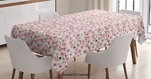 (AngelTablecloth Dust-Proof Table Cover,3D Illustrated Sakura Tree Design with Buds and Multiplexed Stamens,Dining Room Kitchen Rectangular Table Cover,Dark Taupe and Rose,5570 inch)