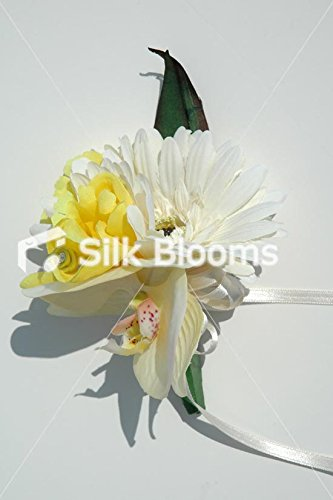 Ivory Gerbera & Orchid with Yellow Freesia Double Corsage