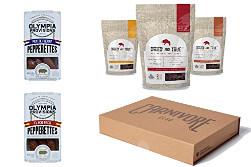 Carnivore Club Gift Box: Jerky & Meat Sticks Sampler – 4 to 6 Meat Snacks - Great Gift For Men - Birthday Gift – Comes in Premium Gift Box - Birthday