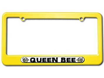 queen bee bumble bee license plate tag frame color yellow