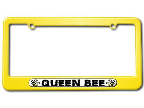 (Queen Bee - Bumble Bee License Plate Tag Frame - Color Yellow)