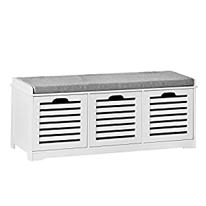 30%OFF SoBuy® White Storage Bench With 2 Drawers U0026 Removable Seat Cushion,  Shoe Cabinet Shoe Bench, FSR23 K W