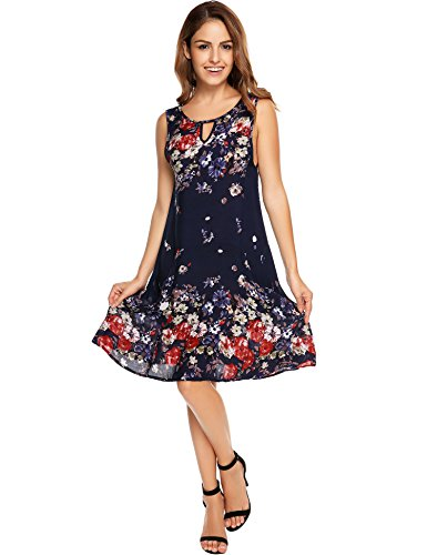 OD'lover Women's Summer Casual Sleeveless Loose Chiffon Bohemian Short Floral Dress