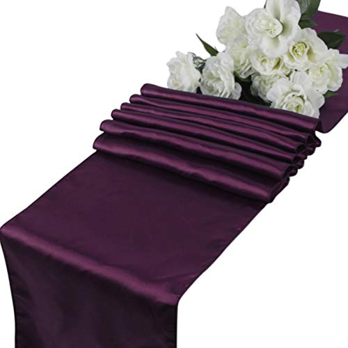 (mds Pack of 10 Wedding 12 x 108 inch Satin Table Runner for Wedding Banquet Decoration- Eggplant)