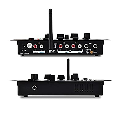 Wireless DJ Audio Mixer - 3 Channel Bluetooth Compatible DJ Controller Sound Mixer, Mic-Talkover, USB Reader, Dual RCA Phono/Line In, Microphone Input, Headphone Jack - Pyle PMX7BU.5 by Pyle