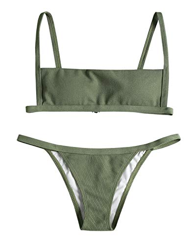 ZAFUL Women's Ribbed Hook String Bikini Set Square Collar High Cut 2 Piece Open Back Swimwear (Forest Green, M) (Forest Ribbed)