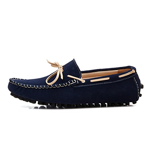 Boat On SUNROLAN Genuine Moccasins Outdoor Driving Loafers Shoes Leather Casual Slip Men's Blue Nubuck Dark ffHwYqA1
