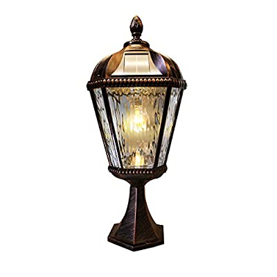 GAMA SONIC Royal Bulb Solar Light, GS Solar Light Bulb, Pier Mount, Brushed Bronze (GS-98B-P-BB)