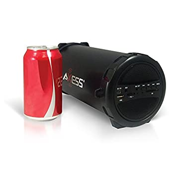 "Axess Spbt1031 Portable Bluetooth Indooroutdoor 2.1 Hi-fi Cylinder Loud Speaker With Built-in 3"" Sub & Sd Card, Usb, Aux Inputs In Black 2"