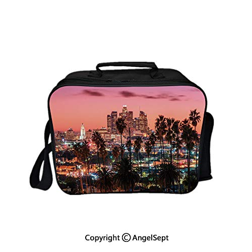 Fashion Custom Lunch Bag Tote Bag, Sunset Twilight Scenery Los Angeles Famous Downtown with Palm Trees Decorative Multicolor 8.3inch,Lunch Organizer Lunch Holder For Unisex Adults