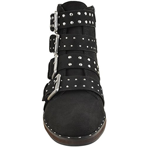 Fashion Thirsty Womens Silver Studded Buckle Strappy Biker Flat Ankle Boots Size Black Faux Suede ZBVK8e8