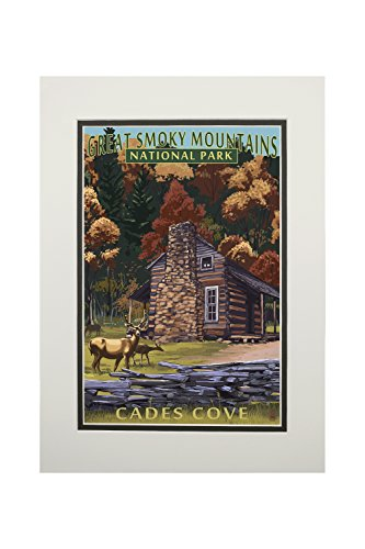 Great Smoky Mountains National Park, Tennesseee - Cades Cove and John Oliver Cabin (11x14 Double-Matted Art Print, Wall Decor Ready to Frame)