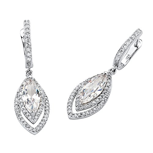 Marquise-Cut White Cubic Zirconia Silvertone Halo Drop Earrings 1.5