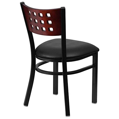 Modern Style Metal Dining Chairs Bar Restaurant Commercial Seats Mahogany Wood Cutout Back Design Black Powder Coated Frame Home Office Furniture - (1) Black Vinyl Seat #2206 by KLS14 (Image #2)
