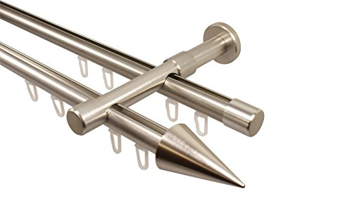 Edelstahl Optik Gardinenstange mit Innenlauf 2-läufig 20 mm Endstück Spitze, 480 cm (3 x 160 cm)