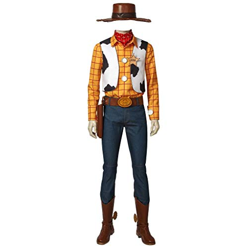 CosplayDiy Men's Suit for Cowboy Sheriff Woody Cosplay Costume with Boots&Hat S -