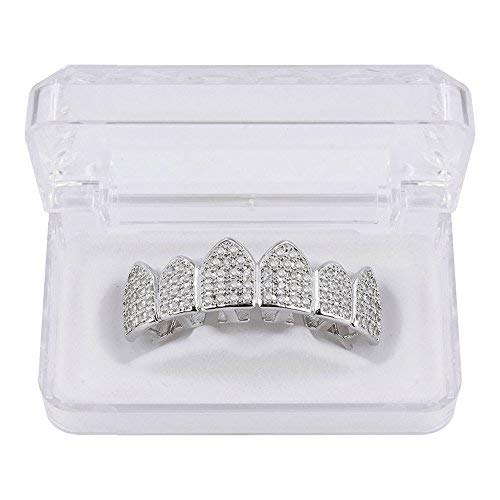 JINAO 18K Gold Plated Macro Pave CZ Iced-Out Grillz with Extra Molding Bars Included (Silver - Teeth Grills Top
