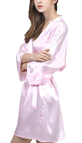 Vestaglie Corto Scollo V Da Accappatoio Con Pigiami Kimono Estivo Camicia Moda Vestaglia Colore Grazioso Puro Cintura Pink Donna Notte CRw8qS