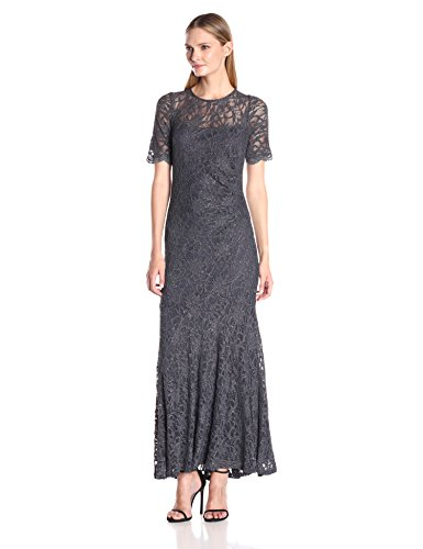 Decode 1.8 Women's Glitter Lace Short Sleeve Mermaid Mother of Bride/Groom Dress with Scallop Sleeve Detail, Charcoal, 14