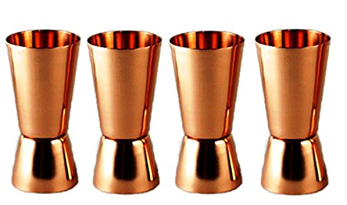 PARIJAT HANDICRAFT Set of 4 Pure Copper Measuring Jigger Shot Glasses Double Sided Jiggers - 2 Ounce and 1 Ounce. by PARIJAT HANDICRAFT (Image #4)
