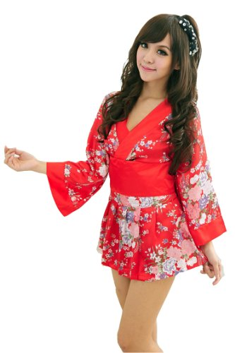 Sexy Geisha Outfits (Women's Sexy Lingerie Kimono Printed Satin Nightgowns Bathrobe+ Belt+t-back+minidress)