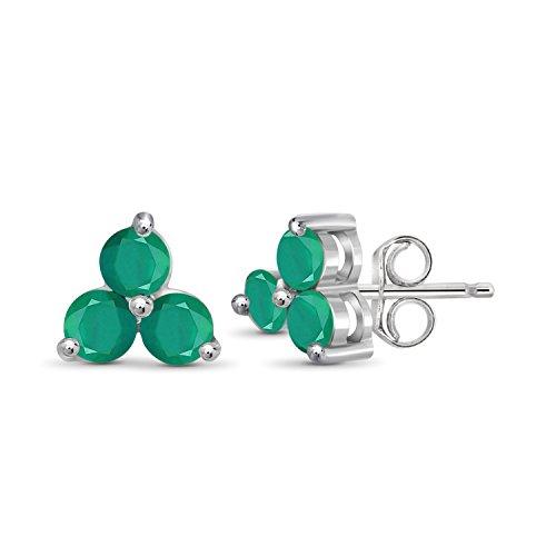 Earrings Emerald Genuine Silver (0.70ctw Genuine Emerald Gemstone Sterling Silver Stud Earrings)