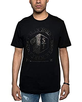 Men's Lion Crest Rhinestone Logo Graphic T-Shirt. Lion Crest