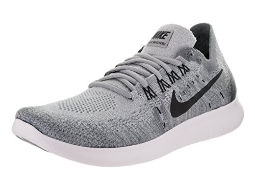 NIKE Women's Free RN Flyknit 2017 Wolf Grey/Black/Anthracite Running Shoe 9.5 Women US (Nike Women Shox Shoes)