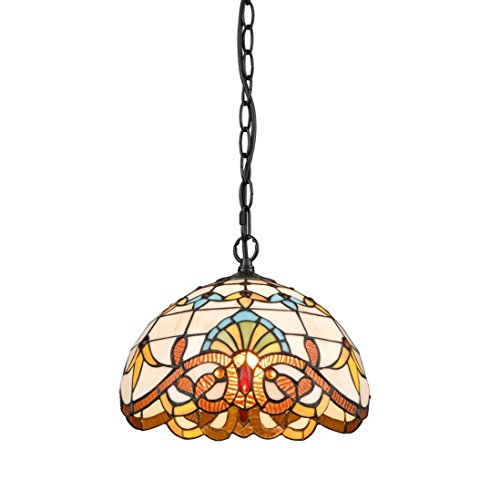 EUL Tiffany Style Victorian 1-Light Ceiling Pendant Fixture Art Stained Glass Shade, ()