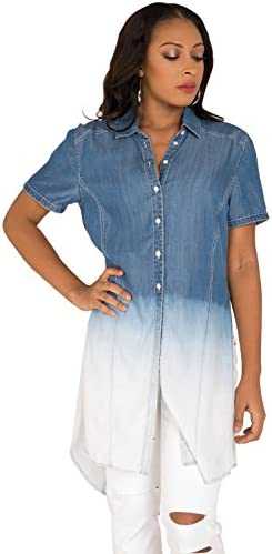 cd7104f25c0bd Poetic Justice Women s Curvy Fit Obmbre Tencel Denim Button-Up Short  Sleeves Shirt
