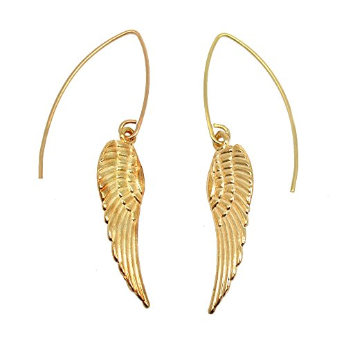 Gold Earrings Angel (Gold Toned Angel Wings Charm Earrings)
