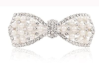 Women's White Pearl Bling Rhinestone Beaded Silver Hair Barrette Clip Pin for Long Hair Ponytail Holder