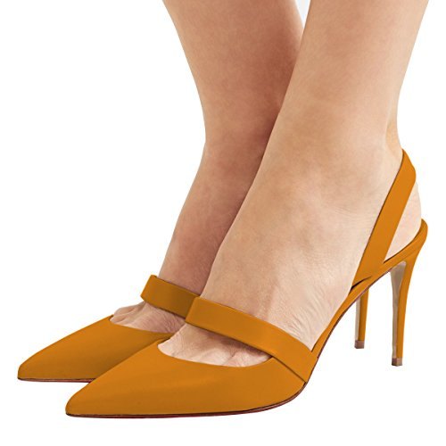 XYD Women Sexy High Heel Slingback Pumps Pointed Toe Slip On Basic Office Sandal Shoes Size 9 Dark ()
