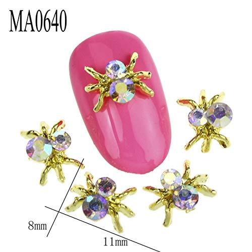 Kamas 10Pcs/Lot New Color 3D Gold Spider Nail Charms Glitter Rhinestones Nail Art Supplies Alloy Nails DIY Tools MA0640 - (Color: Gold) ()