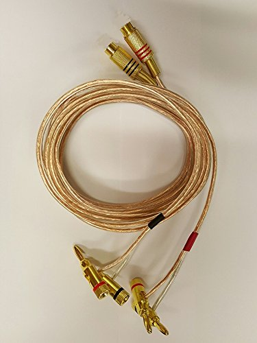 (14 AWG Speaker wire pair with RCA Female (Black & Red) to 2 pair Stackable Banana Plugs - 1 Foot)