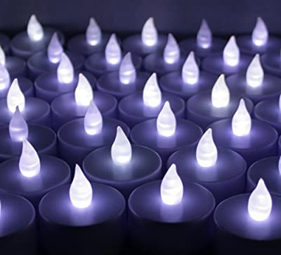 100 PCS Battery Operated Flameless LED Flickering Tea lights Candles for Wedding, Party Decorations, Holiday- Cool White Tealights ~BlueDot Trading