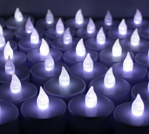 60 PCS Battery Operated Flameless Flickering LED Tealights Candles for Wedding, Luminary Bags, Decorations, Centerpieces, Holidays~ Cool White ~BlueDot -