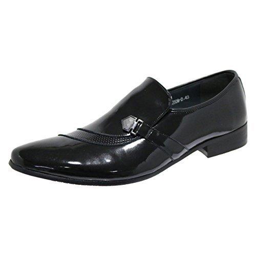 Robelli Designer Homme Faux Lisse Cuir Verni Tourbillon Mocassins Chaussures Habillées