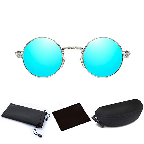 (JJLHIF Unisex Steampunk Round Sunglasses Vintage Retro Style Fashion Cyber Goggles Metal Frame Beach Sun Glasses Caircle Reflective Lens with Glasses Case for Men Women (Silver Blue))