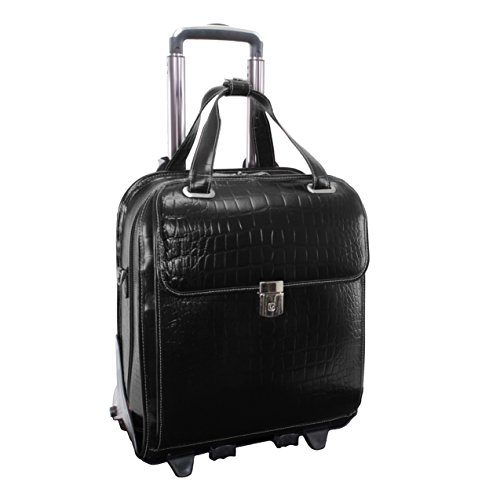 Siamod NOVEMBRE Leather Vertical Detachable 13 Laptop Briefcase Wheeled