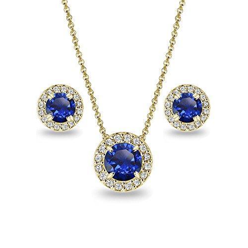 (Yellow Gold Flashed Sterling Silver Created Blue Sapphire Round Halo Necklace & Stud Earrings Set with CZ)