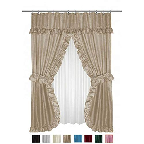 - Carnation FSCD-L/44 Lauren Double Swag Shower Curtain, Linen