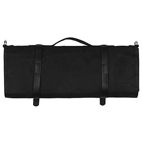 Chef Knife Roll Bag - Handmade Waxed Canvas and Leather Knife Bag Stores 10 Knives + Zipper Pocket and Shoulder Strap (Black) by Becken Leather Co. (Image #1)