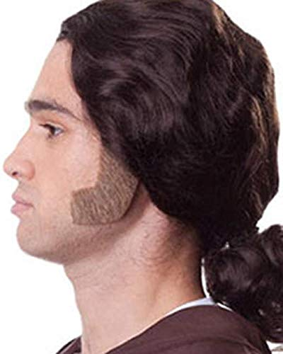 Chop Sideburns Color Black - Sepia Costume Wigs Muttonchops Colonial Patriot Human Hair Fiber Lace Back Facial Historical European -