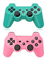 XFUNY Pack of 2 Wireless Bluetooth Game Controllers for PlayStation 3 PS3 Double Shock (1 Green + 1 Pink)