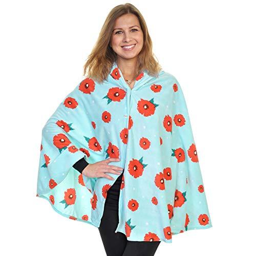 - Angelina Cozy Fleece Hooded Wearable Blanket, PJWB_POPPY