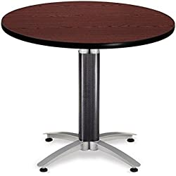 "OFM 36"" Multi-Purpose Round Table with Metal Mesh Base, Mahogany (MT36RD-MHGY)"