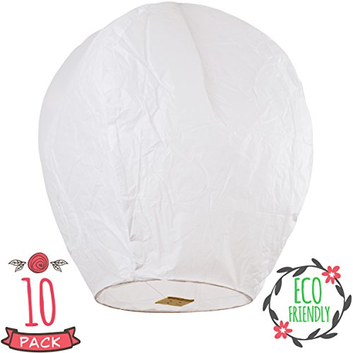SKY HIGH Coral Entertainments chinese lanterns biodegradable and fully assambeled 10-pack White for weddings, birthdays, memorials and much (Floating Paper Lanterns)